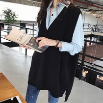 Large size fat mm set womens autumn fashion top womens tide bottoming shirt V-neck knitted waistcoat two-piece set