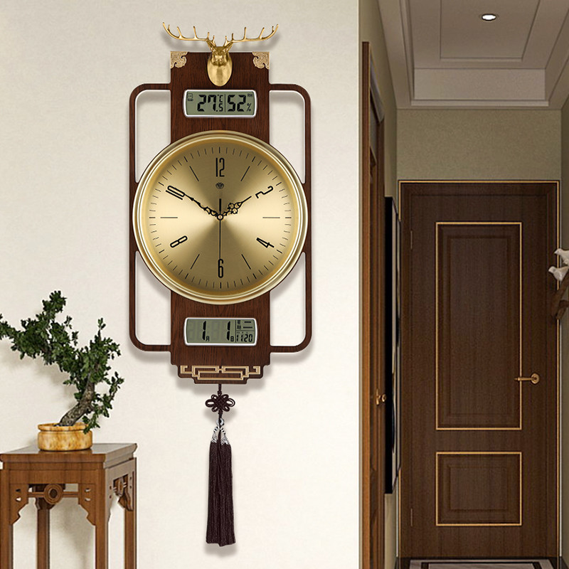 New Chinese wall clock living room home 10000-year-old clock Chinese wind light luxury big simple creative silent quartz clock