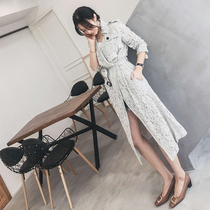 Ting Zhou TTC fall 2017 new stylish lace trench coat woman long over the knee ladies slim thin coat