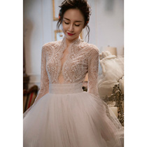 European and American Court retro Korean style slim lace wedding dress