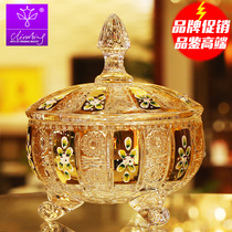 Climbing Czech enamel Color Craft gold-plated crystal with covered glass candy cylinder fruit tray snack tank dried fruit plate