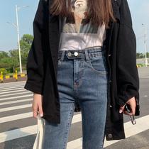 Jeans women 2021 Autumn New High waist slim slim plus velvet tight little feet pencil chic pants