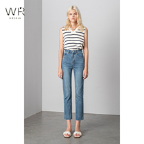 WR straight jeans women high waist slim 2021 Spring and Autumn New elastic burrs nine straight pipe pants