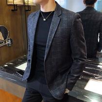 Autumn casual suit jacket Men Korean version slim trend handsome single West men dress plaid suit jacket