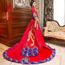 Xiu wo clothing 2017 autumn new toast clothing dragon and Phoenix coat bridal dress wedding gown chinese dress big drag tail
