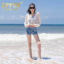 Light luxury brand ZPPSN two-piece swimsuit female conservative fashion belly show thin long-sleeved hot spring swimwear three-piece set