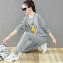 Hong Kong sweater suit women 2021 new spring and autumn fashion Korean version of loose foreign style sportswear two-piece