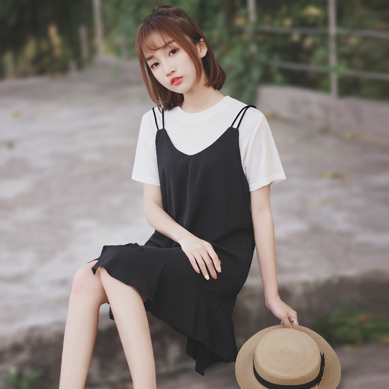 The new womens black suit skirt chic sling skirt for the new 2020 chic sling skirt two-piece set of chiffon casual dress summer