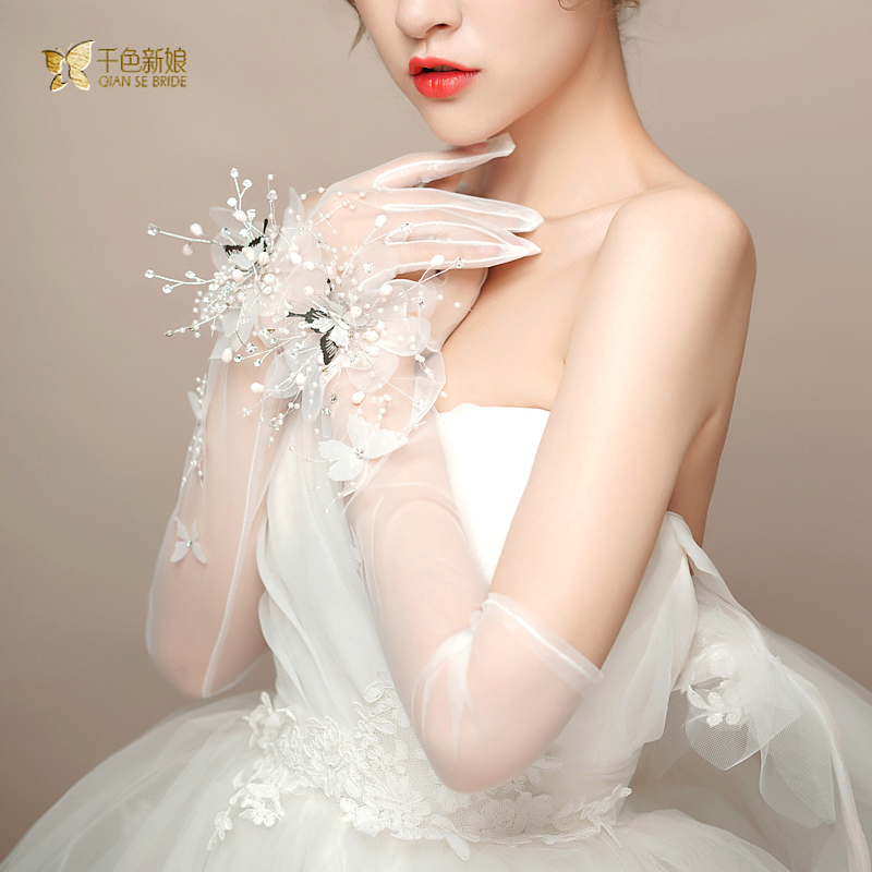 Bridal Korean flower Long Gloves WHITE BOW LACE beautiful Gloves Wedding dress gloves accessories Shu Ying