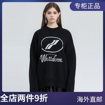 (Official website Spot) WE11DONE 20FW chest LOGO loose casual round neck knitted pullover sweater