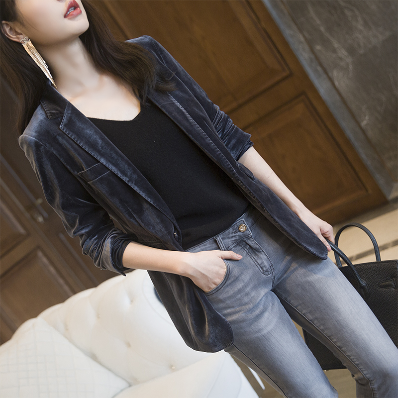 Korean version of the 2021 spring and autumn new gold velvet blazer female casual wild light cooked British style slim small suit