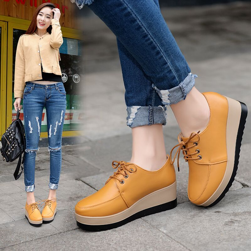 Fleece and Thickening New English Wind Thick Bottom Muffin Shoes Women's Single Shoes Korean Version Leisure Shoes Fashion Women's Shoes