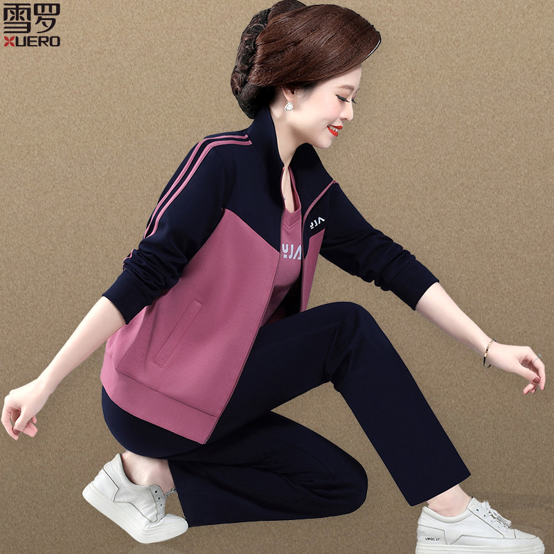 Mom sportswear suit spring and autumn 50-year-old middle-aged women spring coat middle-aged womens top casual three-piece set