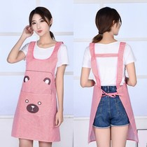 Kitchen cooking apron female strap cute fashion oil stain small men and women around the waist work to work no