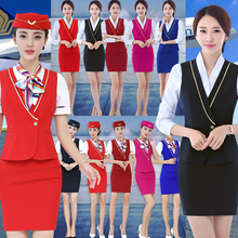 Air hostess uniform professional suit female long sleeve new fashion style winter 2019 cosmetologist hotel front desk work clothes
