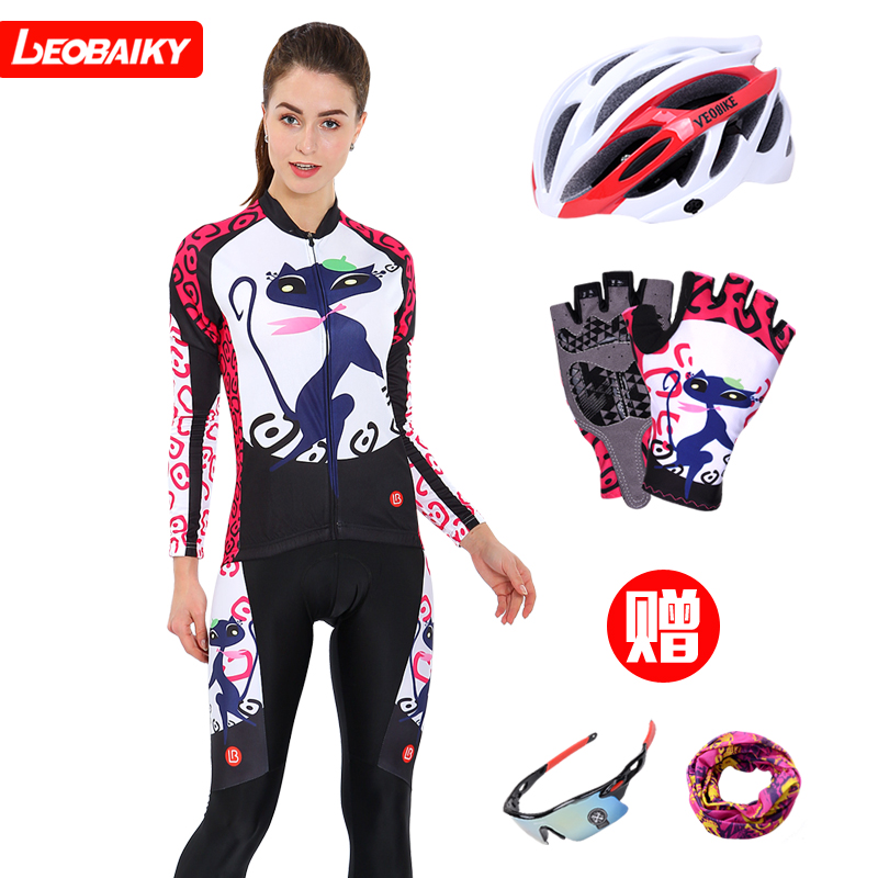 Leobaiky women's cycling suit women's long sleeve suit with spring autumn cycling suit pants top