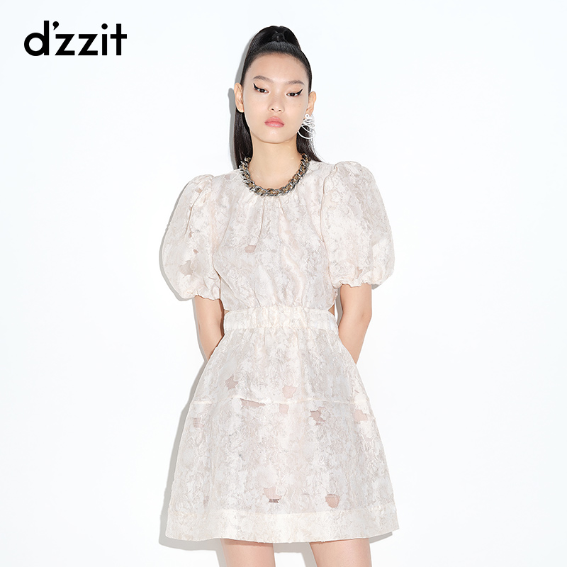 Dzzit 2021 summer counter new retro bubble sleeve dew a word back dress female 3D2O4261B