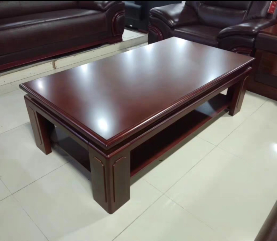 Modern solid wood long coffee table with two small household simple office fashion tea table living room simple wooden teapot