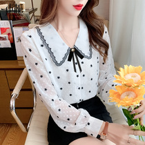 Early autumn long-sleeved chiffon bottomed shirt ladies spring and autumn vneck 2021 New European coat womens autumn