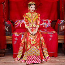 Show WO clothing bride 2018 new Dragon coat of ancient Chinese wedding dress wedding wedding dress dress China air show and