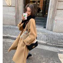 2021 autumn and winter New Camel double-sided cashmere coat womens long high-end temperament loose lace-up woolen coat