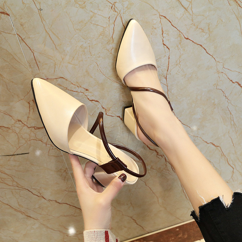 Sandals female summer pointed fashion high-heeled word with baotou thick with women's shoes 2018 new comfortable outside wearing student shoes