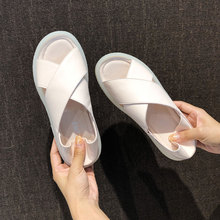 Leather sandals women's shoes 2019 new ins tide summer fairy breeze gentle fashion flat-soled pregnant women's shoes