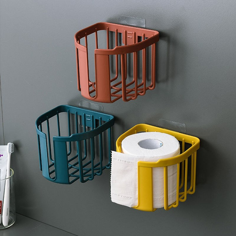 Bathroom tissue box holder hole-free strong wall-mounted household roll tray rack creative toilet toilet paper rack