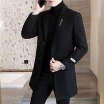 Mens hair coat autumn and winter medium-length version of the sub-coat 2020 new trend Korean version of the mens Nizi windshield