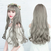 Female wig long curly hair Wavy long hair fluffy natural corn hot air bangs wig, South Korea