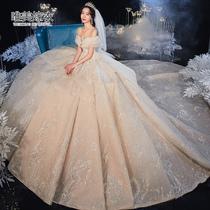 2020 новое свадебное платье невесты Мори слово плечо роскошное платье длинный хвост сетки красный трясущийся звук роскошь роскошь звездное небо