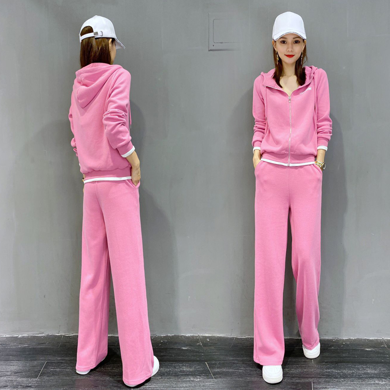 European wide leg pants sportswear suit womens spring and autumn 2021 new fashion foreign style loose sweater casual two-piece set