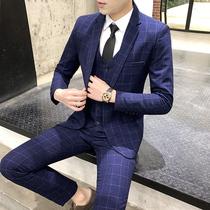 Suit Men suit three sets of small suits Korean version slim dress groom handsome wedding dress casual coat tide