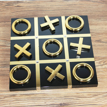 XO checkerboard book file ornaments Stainless steel metal European modern model room soft decoration home decoration ornaments