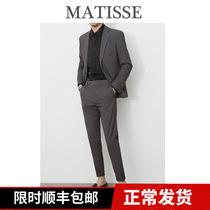 Temperament Gray small suit male suit solid color trend groom wedding dress business casual slim handsome suit male
