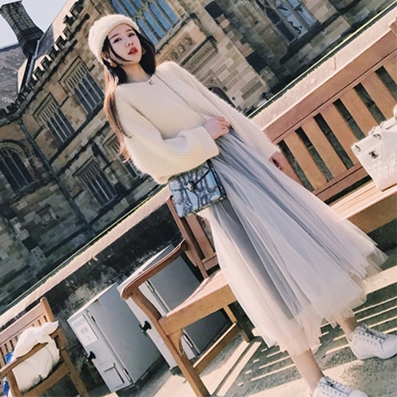 European station 2020 autumn and winter new fashion net red thin suit super fairy mesh dress goddess Fan sweater two-piece set