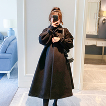 Pregnant women coat autumn and winter wear outer wear 2019 new fashion loose Korean version of the long section of woolen thickened warm coat
