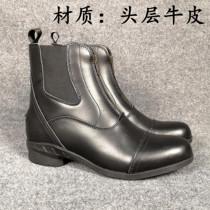 专业马术短靴头层牛皮男女儿童牛皮骑马靴鞋卡纳瑞马具障碍骑士靴
