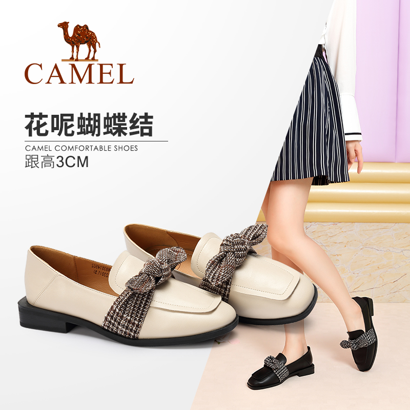 Camel women's shoes 2018 winter new products British style fashion elegant bow square head low heel comfortable single shoes women