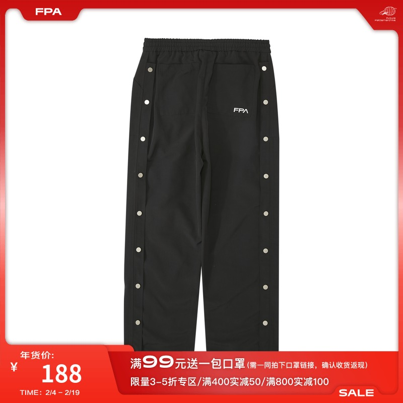 FPA (VENGETICE) national trend hundred row buckle loose trousers straight sports high street buttons釦 casual mens pants