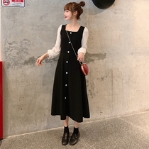 Large size womens 2020 autumn new fat sister French ancient a-word skirt waist thin long-sleeved dress spring