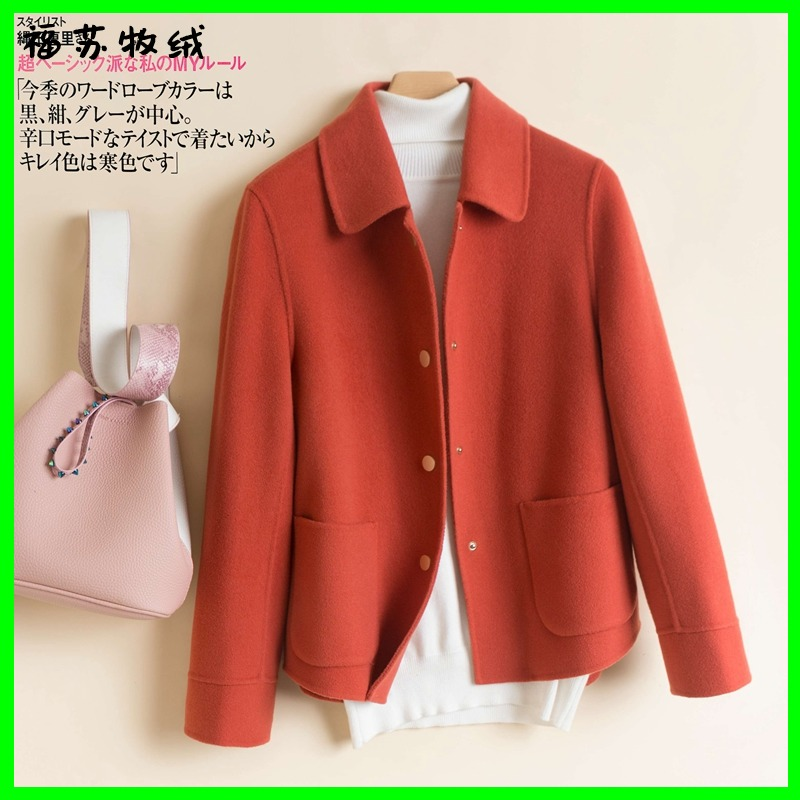 Casual fashion spring and autumn short double-sided cashmere coat women small loose wool wool coat doll collar