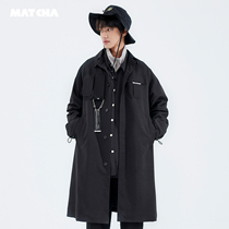 Matcha story windbreaker men in the long section of the Korean version of the trend of casual jacket spring and autumn students handsome decorative trip overcoat