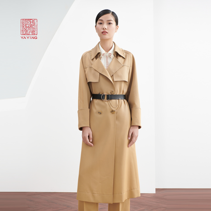 China Yaying waist X-type three acetate fabric rivet medium-length version of the windcoat jacket 20 new 7205A