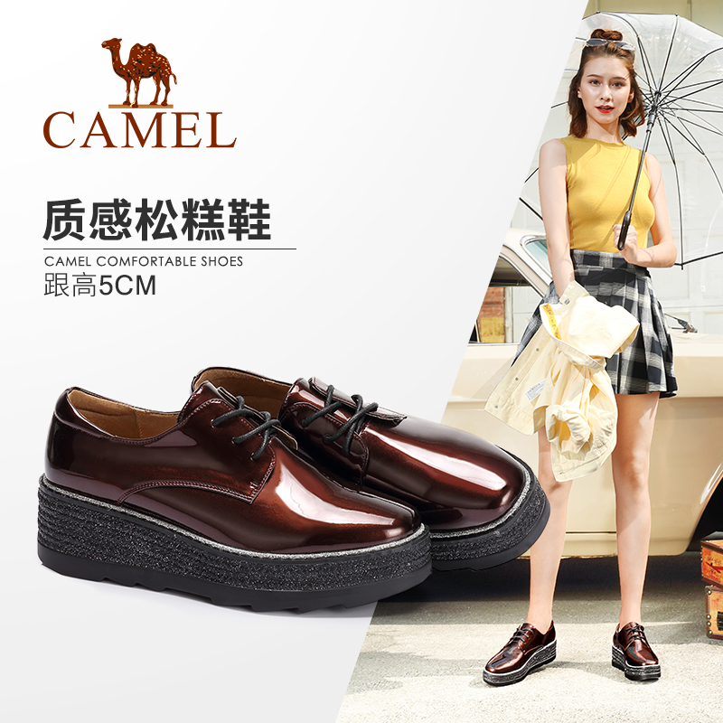 Camel Women's Shoes 2018 Autumn New Fashion England Muffin Bottom Comfortable Lace Modern Single Shoes Women