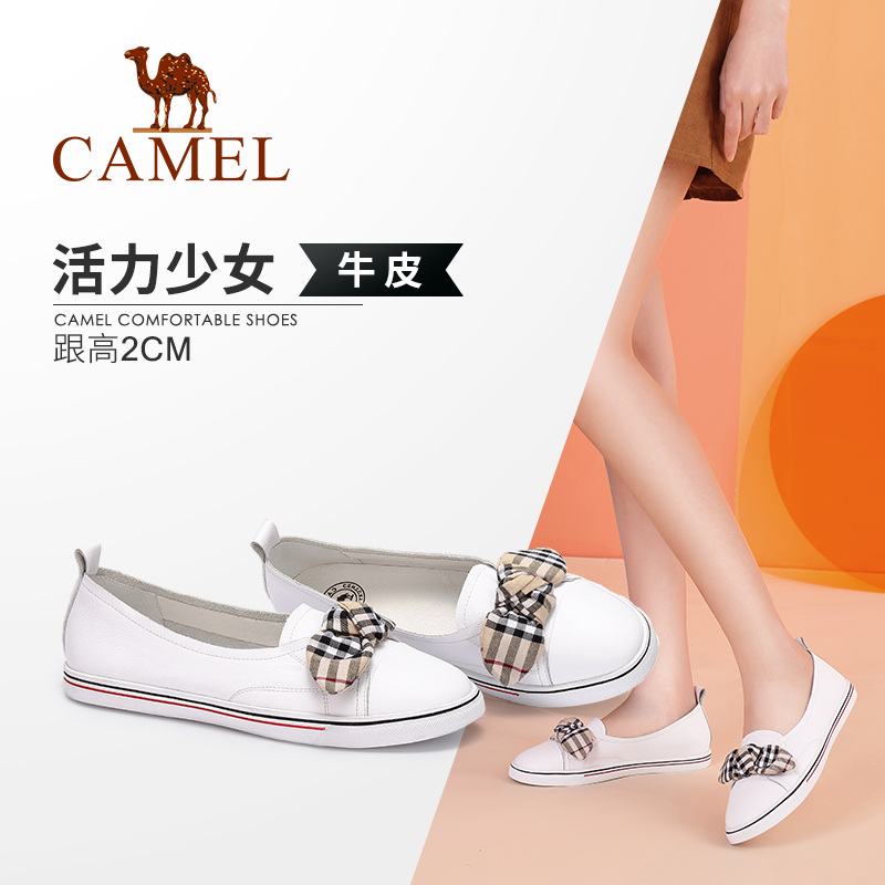 Camel women's shoes 2018 autumn new fashion casual leather plaid bow sweet Korean version of the wild white shoes
