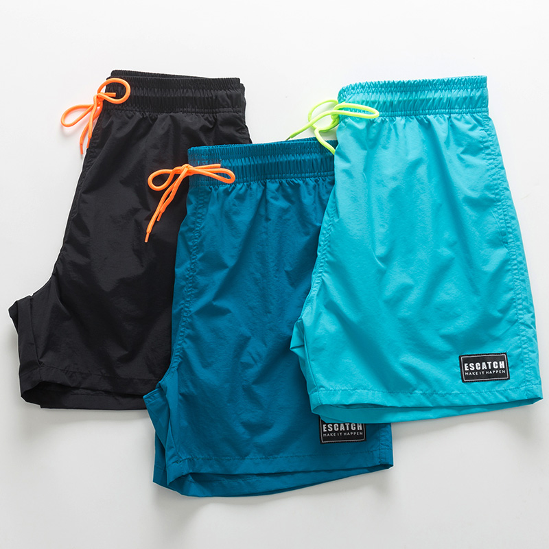 Beach pants mens fast dry can go into the water loose seaside holiday shorts tide mens anti-embarrassing hot spring flat corner swimming trunks