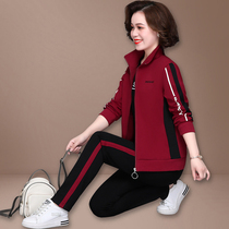 Mother autumn coat foreign-aged casual sportswear set women Spring and Autumn middle-aged large size jacket three-piece set