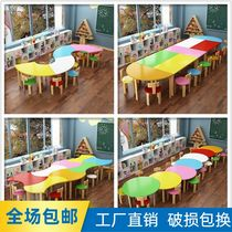 Kindergarten training course Table and chair combination Study table tutoring class Primary and secondary school students solid wood painting art desk and chair