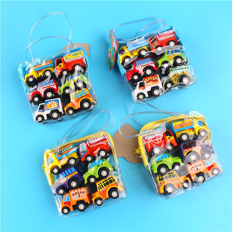 1 set of 6 cars childrens toy car model baby mini back force car inertial engineering car set